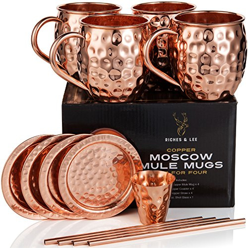 moscow mule kupferbecher 4er set umfasst 4 x 18oz becher 4 x untersetzer 4 x strohhalme 1. Black Bedroom Furniture Sets. Home Design Ideas