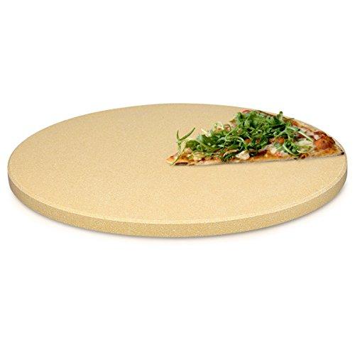 Pizza Stein Ofen Brot Backen Flammkuchen u2013 Gasgrill Holz Kohle Herd Teller Rund in Beige  ~ 01235330_Backstein Schamotte Aus Cordierit