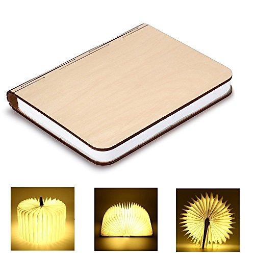 gro e led buch lampe in buch form holzbuch mit 2500 mah akku lithium nachttischlampe nachtlicht. Black Bedroom Furniture Sets. Home Design Ideas